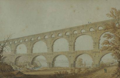 Ecole vers 1820  Le Pont du Gard  Panorama...