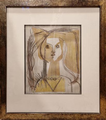Ecole moderne  Jeune fille, vers 1950  Crayon...