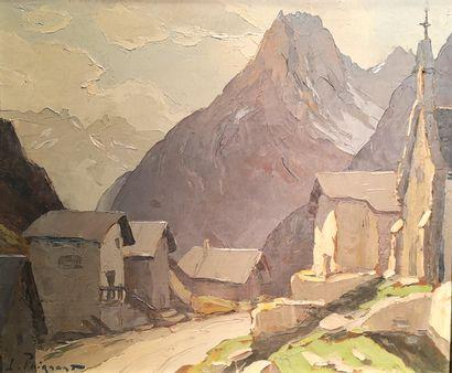 """Lucien POIGNANT  """" La montagne""""  Panneau 46 x 55 cm  Signature en bas à gauche"""