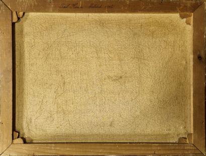 Ecole Française  Mouvement de mer.  Toile datée 1926. 42x56 cm  trous , usures.