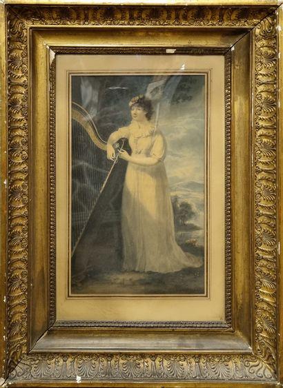 Ecole Anglaise vers 1820  Joueuse de Harpe,...
