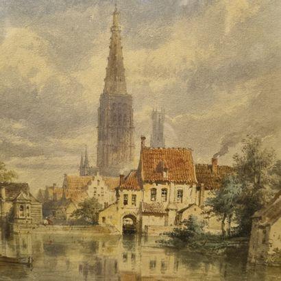 Ecole du XIXeme  Vue de Brugge, Belgique  aquarelle 23x29 cm  Prov : Hotel Drouot...