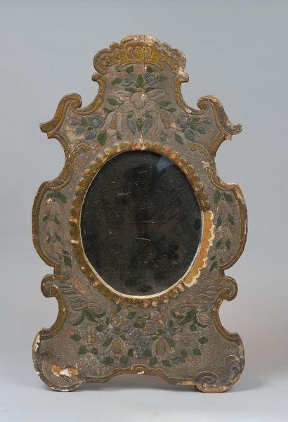 TURQUIE Miroir en bois et stuc polychrome....
