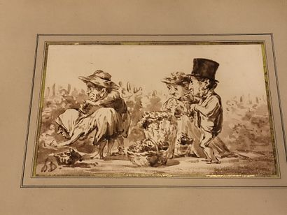 Ecole vers 1900  Les jardiniers  lavis 15X24...