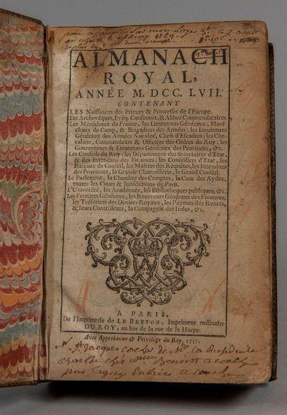 ALMANACH ROYAL, année 1757. Paris, Le Breton, 1757. In-8, mar. bordeaux, triple...