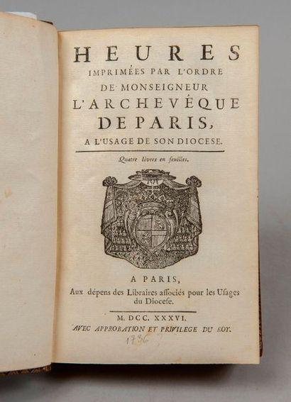 HEURES imprimées par l'ordre de Monseigneur l'archevêque de Paris, à l'usage de...