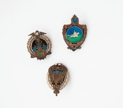 Trois insignes en métal.