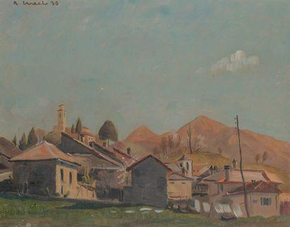 Ecole Xxe  Paysage de montagne  Peinture...