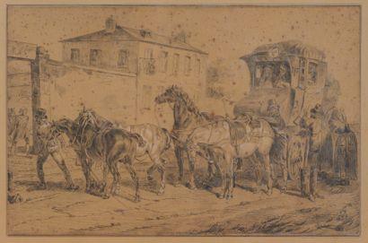 Ecole XIXe  Le relais des chevaux sur la...