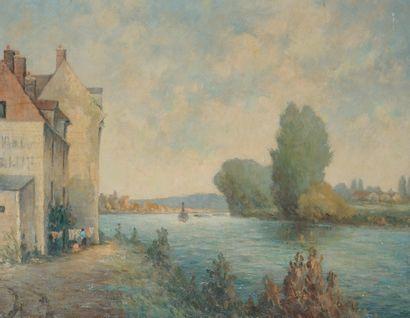 Lucien CHANTRELLE (né en 1890). Bord de Seine....
