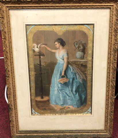 Femme au panier et perroquet  Gravure  32...