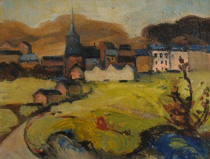 J.P MURAT, Village,Toile 30 x 40 cm