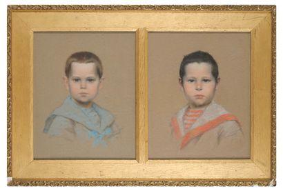 DUBOIS MENAW (?) Pastel Deux portraits jumeaux,...