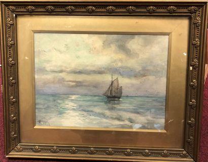 Theodore Hannon (1851-1916)  Voilier  Aquarelle...
