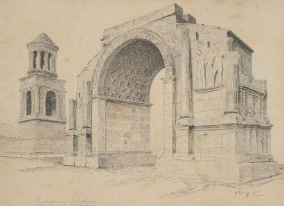 A.PETERS, Arc antique à Arles,signature,...