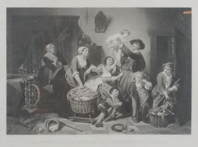Le bonheur de la famille  Lithographie XIXe...