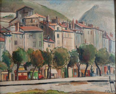 P. PAPET, village,huile sur panneau 40 x...