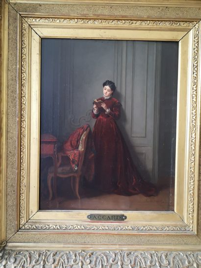 Eugène Accard (1826-1888)  Femme à la lecture...