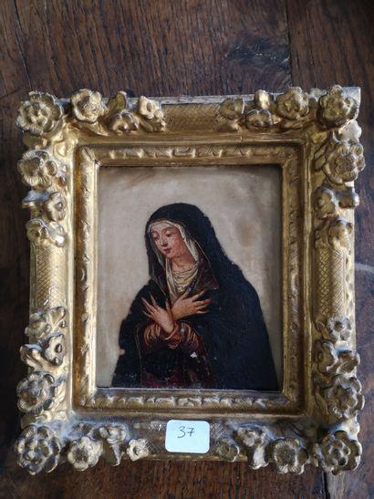 Ecole du XVIIe siècle  Pieta  Huile sur albatre...