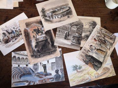 Ensemble de dessins, aquarelles et gouaches...