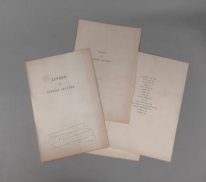 CATALOGUE. Livres de Pierre Lecuire. Paris,...