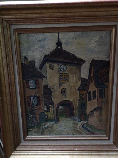 W. Dressler  View of a village  Oil on canvas...