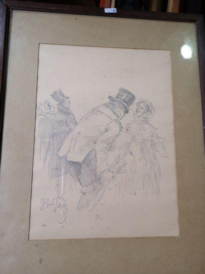 École Du XIXe  Caricatures  Paire de crayons,...