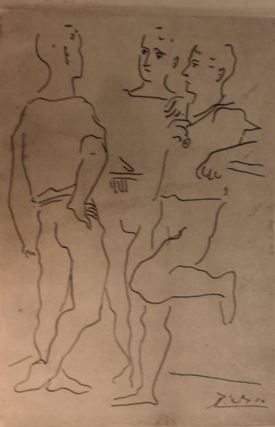 Reproduction d'après Picasso, trois personnages,...