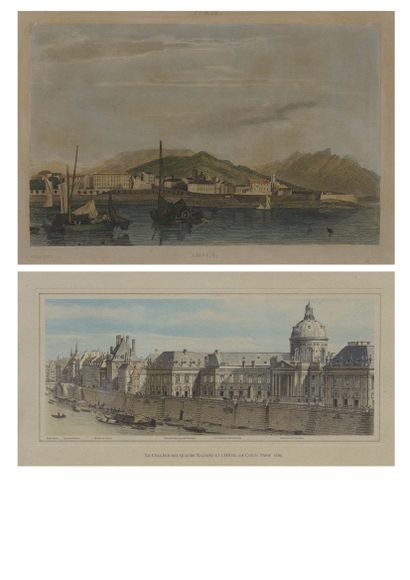 Two framed pieces:  View of Ajaccio, lithograph...