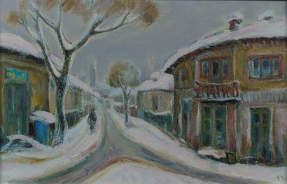 MODERN School  Snow Landscape  Canvas, monogrammed...