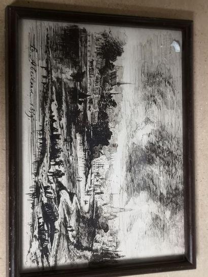 E. ABEILARD 1859. Paysage animé, ville au...