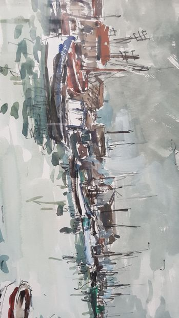 Fernand HERBO  Bateaux amarrés au port  Aquarelle,...
