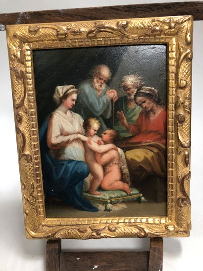 Miniature sur panneau figurant une Sainte...