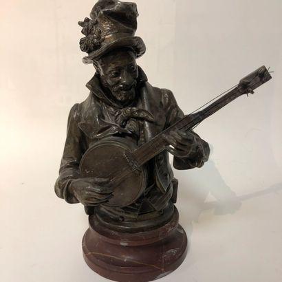 Sculpture en régule figurant un joueur de...