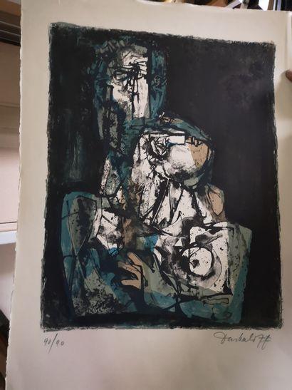 Georgi DASKALOFF ( 1923-2005)  Couple enlacé...
