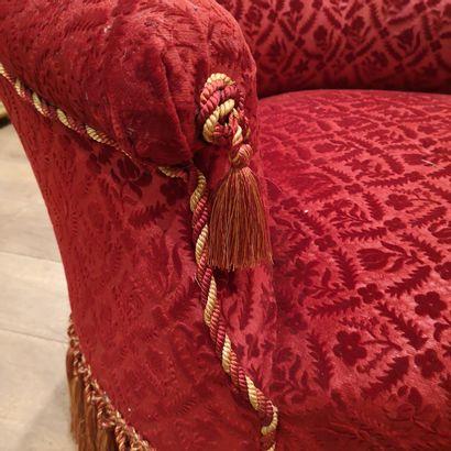 Méridienne en velours rouge, Epoque Napoléon III