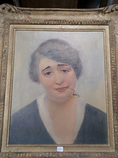 W.Lewino  Portrait feminin  Toile signée...