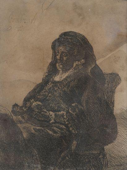 D'après Rembrandt,  Portrait de vieille femme,...