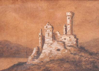 Ecole du XIXème siècle  Ruine  Dessin.  23...
