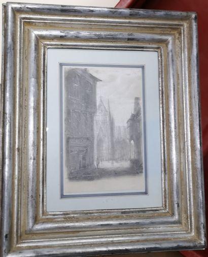 Ecole du XIXe siècle  Rue de village  Crayon...