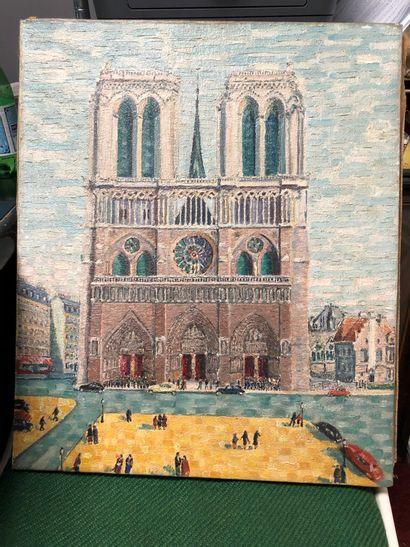 Ecole naïve  Parvis de Notre Dame.  Huile...