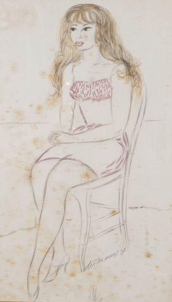 Louis TOUCHAGUES (1893-1974)  Femme assise...