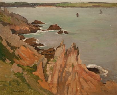 Ecole Moderne, View of a rocky coast, Oil...