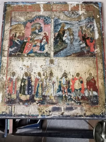 Russian icon.  Scenes from the life of Christ....