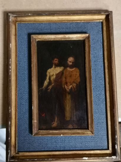 École du XIXe siècle  2 personnages  Huile...