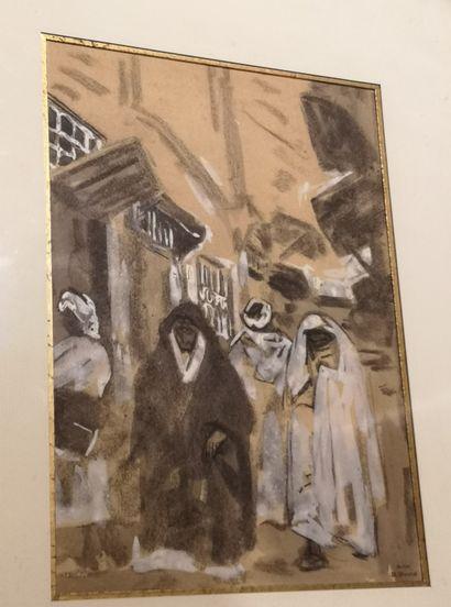 Henri HOURTAL (1877-1944): Rue animée en...