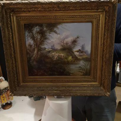 Ecole du XIXe siècle, Paysage, Peinture sur...