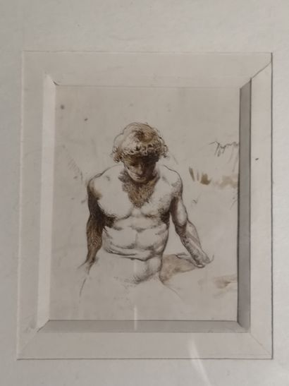 Christian BOUILLE  Male Nude  Ink, signed....