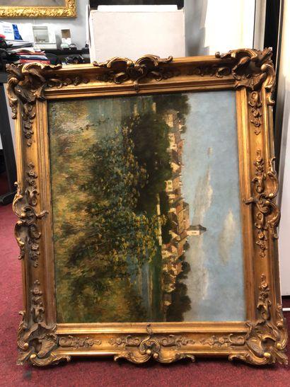 F.WENZ  Paysage à la rivière  Huile sur toile,...