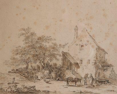 18th century HOLLAND school  Peasants in...